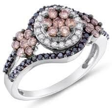 Black & white diamond halo ring with a splash of pink | Google Image Result for http://blackdiamondring.org/wp-content/uploads/2014/10/14K-White-Gold-Round-Brilliant-Cut-Chocolate-Brown-and-Black-Diamond-Engagement-Ring-OR-Fashion-Band-Halo-Invisible-Channel-Set-Center-with-Channel-Set-Side-Stones-Flower-Shape-Center-Setting-100-cttw-0.jpg