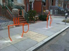 Unique bike rack in front of a coffee shop