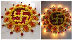 Rangoli Design With Flowers Easy Rangoli Designs Diwali, Rangoli Designs Flower, Free Hand Rangoli Design, Small Rangoli Design, Rangoli Patterns, Colorful Rangoli Designs, Rangoli Ideas, Diwali Diy, Rangoli Designs Images