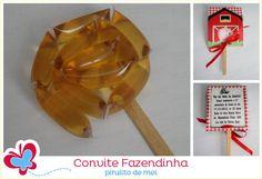 Convite Fazendinha - pirulito de melzinho Honey, Lollipop Candy, Personalized Stationery, 1 Year, Invitations, Parties