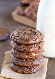 Best Fudgy Chocolate Brownie Cookies – Dessert Rezepte - New ideas Best Cookie Recipes, Baking Recipes, Sweet Recipes, Kitchen Recipes, Just Desserts, Delicious Desserts, Dessert Recipes, Recipes Dinner, Dessert Food