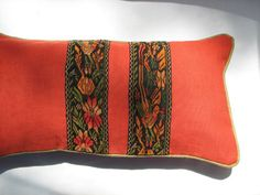 Decorative Paprika Red Pillow with Handwoven by KerrJonesDesign, $75.00. (Sold)