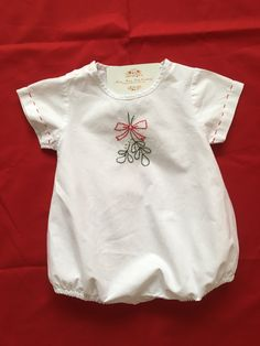 Mistletoe hand embroidered baby bubble suit