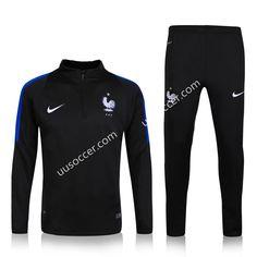 2016 European Cup France Black Thailand Soccer Tracksuit