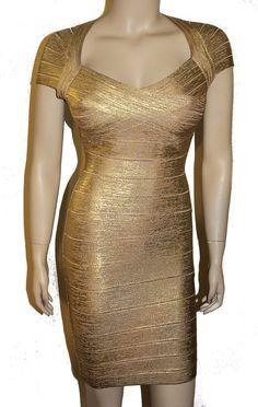 100% Authenic HERVE LEGER - Tejana Metallic Gold Foil Bandage Dress S NEW #HerveLeger #bandageoccasiondress #Cocktail