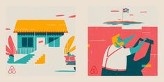 A series of animated gifs celebrating Airbnb and Barack Obamas visit to Cuba celebrating cultural unity.