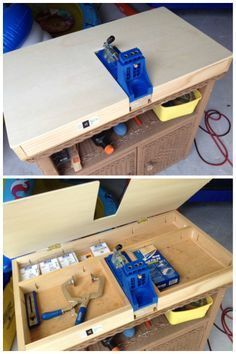 Lots of storage, lots of support for workpiece - Custom Kreg Jig® Setup by Jason in the Kreg Owners' Community #woodworkingtools