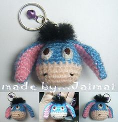 Blue donkey free pattern amigurumi keychain- Pattern instant download no subsctription.