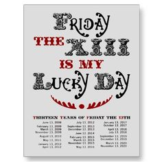 Lucky Friday the 13th Light Postcard by jamieco