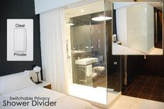 Switchable Privacy Bathroom Divider - eGlass by Innovative Glass Corp Glass Bathroom, Bathroom Plans, Victorian Bedroom, Bathroom Wall, Bathroom Glass Wall, Hotels Room, Bathroom Design, Privacy Glass, Bathroom