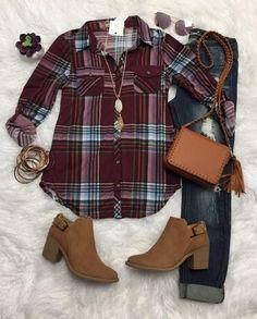 Penny Plaid Flannel Top: Burgundy Multi #flannel #plaid