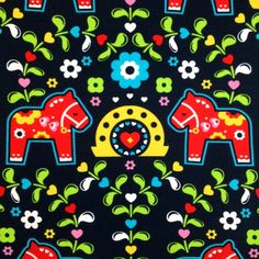 This striking fabric has Scandi-style Dala horses, leaves, blossoms, and hearts in red, yellow, green, turquoise, and white on a very deep navy bac...