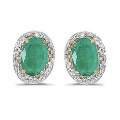 14K Yellow Gold Diamond Accent and 6 x 4 MM Oval Shaped Emerald Earrings *** Click on the image for additional details.