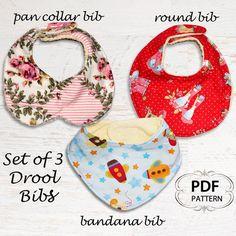 Baby sewing pattern for Bibs, PDF Sewing pattern, Bandana Bib, Baby infant newborn toddler, Easy beginner, DROOL BIBS. $6.95, via Etsy.