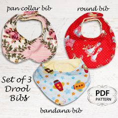 Baby sewing pattern for Bibs, PDF Sewing pattern, Bandana Bib, Baby infant newborn toddler, Easy beginner, DROOL BIBS. $6.95, via Etsy.