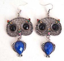 sapphire Crystal owl shapes Earring Dangle Hook Earrings Jewelry free shipping S