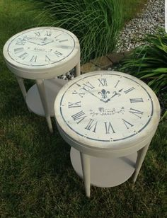 Chalk paint tables with clock stenciled tops.  http://pages.ebay.com/link/?nav=item.view&id=182050307220&alt=web
