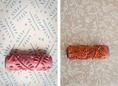 la reines blog: Toller Tipp: Raufaser-Tapete streichen durch Farbwalze mit Muster
