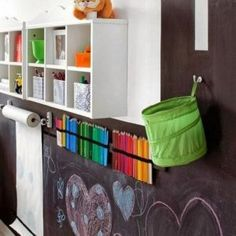 Kids playroom is often fused with kids room to ease parents to supervise their kids. Therefore you need to kids playroom decor appropriate to the age their growth Blackboard Wall, Chalkboard Paint, Chalk Wall, Chalk Board, Chalk Paint, Chalkboard Ideas, Large Chalkboard, Chalkboard For Kids, Kitchen Blackboard