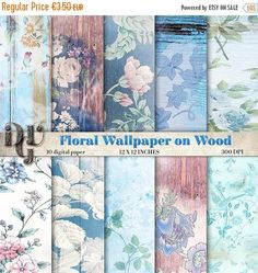 40% Floral Digital Paper wood Shabby Chic blue flowers and