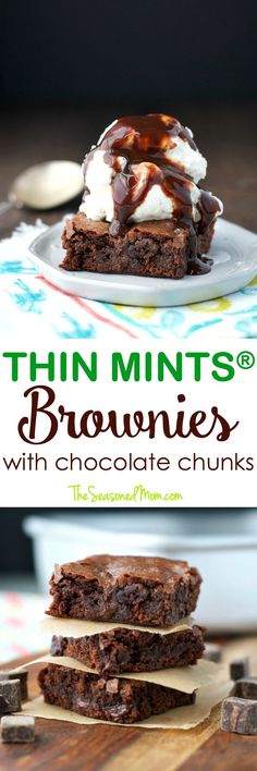 These Thin Mints® Brownies with Chocolate Chunks are a rich, chocolatey, and oh-so-decadent dessert! Best of all? They're made with a shortcut for quick and easy baking! #ad