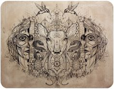 David_Hale_Tattoo_Designs_Fresh_Savagery_Blog_Art_White_Dear_Sacred_Geometry.jpg (640×499)