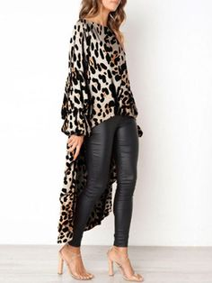 9cbc90ee9692 Khaki Leopard Print High-low Round Neck Lantern Sleeve Blouse - Blouses -  Tops Africká