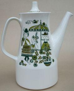Vintage Figgjo Flint Norway Coffee Pot Teapot Green Market Pattern 5 cup