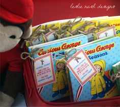 vintage curious george inspired 2nd birthday party book party favors leslie nash designs - Curious George Coloring Book In Bulk