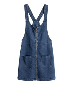 Short bib overall dress in washed stretch denim.  H&M Divided