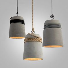 Concrete Cord wrapped Monolith Minimalist Pendant Light #beton #ceiling-light #cement