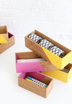 DIY Color Block Box Supplies Storage