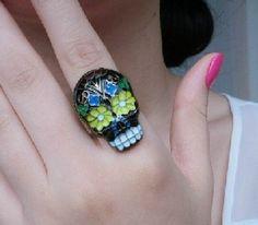 Fashion Adjustable Colorful Face Ring $2.99 for all your dia de los muertos sugar skull needs.
