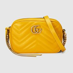 Gucci Gg Marmont Mini MatelassÉ Leather Crossbody Bag In Yellow Leather Gucci Handbags, Gucci Bags, Chain Shoulder Bag, Shoulder Strap, Shoulder Bags, Yellow Leather, Vintage Handbags, Yellow, Gifts