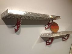 MAN CAVE - Aluminum diamond plate motocross sprocket shelves by Russellbilt