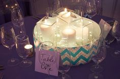 Blue Turquoise & Chevron Bat Mitzvah Centerpieces {Party Planner: Florie Huppert Design, Photography by 5th Avenue Digital} - mazelmoments.com