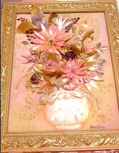 """About: I consider this an alternative to growing flowers. It will last way longer and still have that touchable look smile emoticon Dimensions: 15.5"""" long & 17.5"""" tall Medium: Fabric, Watercolor, Pigments, Polish, Satin ribbon, Lace, Soft Scented Perfume,markers, Jewelry, Hot glue, Glycerin Date: May 28, 2014  #original #oneOfAkind #satin #ribbon #fabric #scented #soft #perfume #flowers #rosee #tulips #mixedMedia #bouquet #pigment #makeup #waterColor #polish #framed #madeToOrder #art…"""