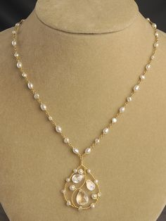 Ethereal Pendant Necklace  - White topaz & moonstone birolette pendant on pearl chain