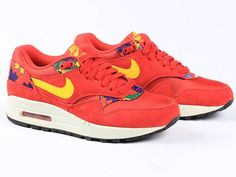 Nike Air Max 1 Print University Red/Yellow Women Sneakers Dames