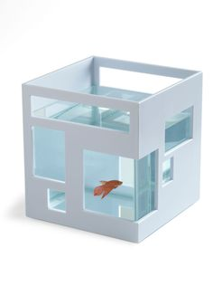 Ahead of the Current Fish Bowl - White, Dorm Decor, Minimal, Mod  It's like picture frames for your fish!!  I want a huge one of these for lots of goldfish!