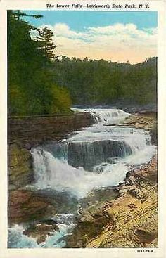 Letchworth State Park New York NY 1929 Lower Falls Collectible Vintage Postcard