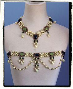 Jade complet Set Tudor Renaissance collier corsage Bijoux Collier Headband