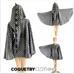 Silver Dragon Dress with Fan Sleeves and Long Pointy Spiked Hood 1052793 by  CoquetryClothing on Etsy 264fccdcf