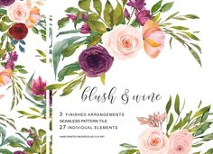 Watercolor Blush Wine Flowers Clipar blush and wine wine color wine colour blush color blush flower blush rose blush rose clip art blush rose clipart wine flower wine flowers burgundy burgundy rose watercolor arrangements watercolor bouquets seamless pattern seamless pattern tile floral pattern wedding wedding stationery commercial use commercial use flowers commercial use florals commercial use clipart commercial use clip art watercolor clipart watercolor clip art branding stationery…