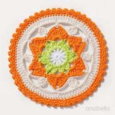 Daffodil crochet coasters pattern, by Anabelia Craft Design