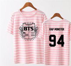 KPOP BTS Bangtan Boys Stripe Young Forever T Shirt 2016 K-POP Classic Black White Pink Cotton Short Sleeve T-shirts