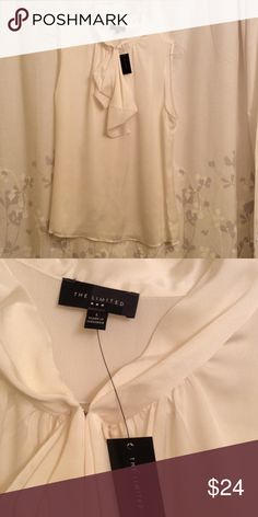 Limited white silky blouse with bow neck size LG White silky material new with tags, bow neckline detail makes an attractive work look or nighttime top! The Limited Tops Blouses