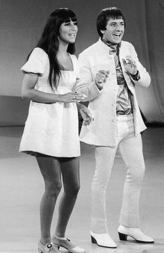 "January 1965 - Sonny and Cher perform in all white on the ""Carol Burnett Show."""