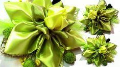 Цветок из ленты канзаши мастер класс / DIY ribbon flower tutorial Kanzas...