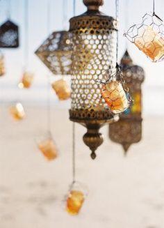 BRIONYMARSH//STYLING Hanging morrocan candles beach wedding beautiful xo www.brionymarsh.com